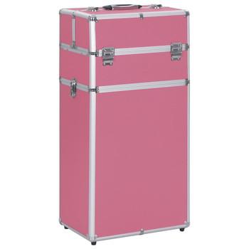vidaXL Kolica za šminku aluminijska ružičasta