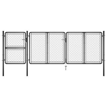 vidaXL Vrtna vrata čelična 125 x 395 cm antracit