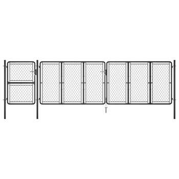 vidaXL Vrtna vrata čelična 125 x 495 cm antracit