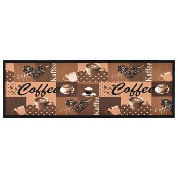 vidaXL Kuhinjski tepih s uzorkom kave perivi smeđi 45 x 150 cm