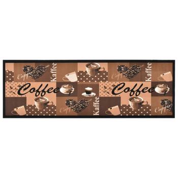 vidaXL Kuhinjski tepih s uzorkom kave perivi smeđi 60 x 180 cm