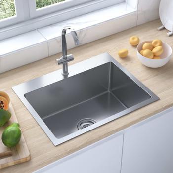 vidaXL Ručno rađeni kuhinjski sudoper s otvorom za slavinu od čelika
