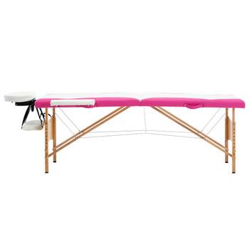 vidaXL Sklopivi masažni stol s 2 zone drveni bijelo-ružičasti