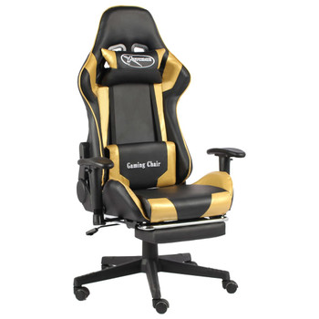 vidaXL Okretna igraća stolica s osloncem za noge zlatna PVC