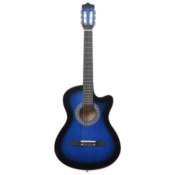"vidaXL Akustična gitara Western s prorezom i 6 žica 38 "" plava"