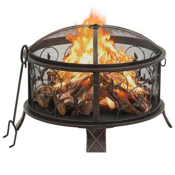 vidaXL Rustična posuda za vatru sa žaračem 67,5 cm XXL čelična