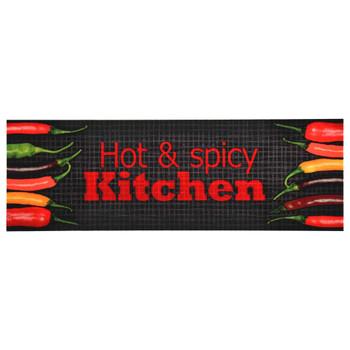 vidaXL Kuhinjski tepih s natpisom Hot & Spicy perivi 60 x 300 cm