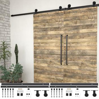 vidaXL Pribori za klizna vrata 2 kom 183 cm čelični crni