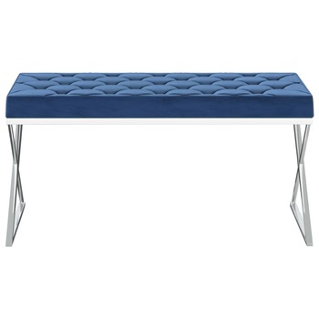 vidaXL Klupa od plavog baršuna i nehrđajućeg čelika 97 cm