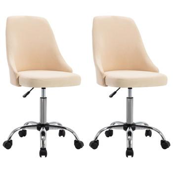 vidaXL Uredske stolice od tkanine s kotačima 2 kom krem
