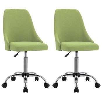 vidaXL Uredske stolice od tkanine s kotačima 2 kom zelene