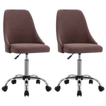 vidaXL Uredske stolice od tkanine s kotačima 2 kom smeđe-sive