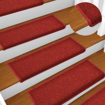 Tepisi za stepenice 15 kom 65 x 25 cm crveni