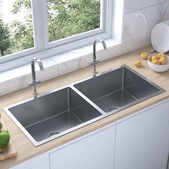 Ručno rađeni kuhinjski sudoper s cjedilom od nehrđajućeg čelika