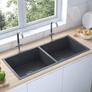 Ručno rađeni kuhinjski sudoper s cjedilom crni nehrđajući čelik