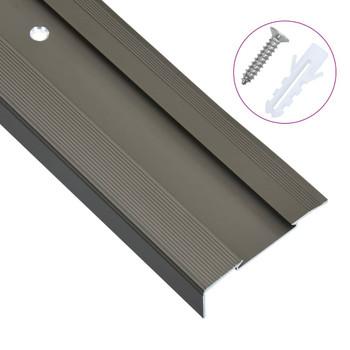 Rubnjaci za stepenice L-oblika 15 kom aluminijski 100 cm smeđi