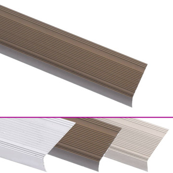 Rubnjaci za stepenice L-oblika 5 kom aluminijski 90 cm smeđi