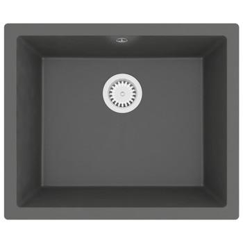 Kuhinjski sudoper s otvorom protiv prelijevanja sivi granitni