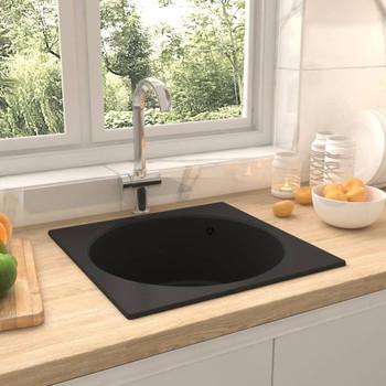 Kuhinjski sudoper s otvorom protiv prelijevanja crni granitni