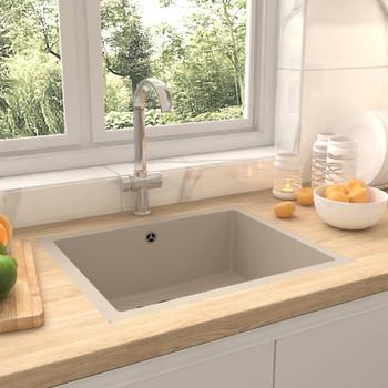 Kuhinjski sudoper s otvorom protiv prelijevanja bež granitni