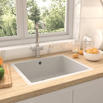 Kuhinjski sudoper s otvorom protiv prelijevanja bijeli granitni