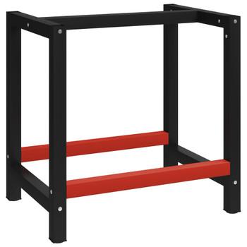 Okvir za radni stol metalni 80 x 57 x 79 cm crno-crveni