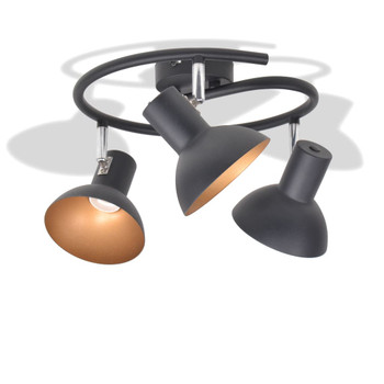 Stropna svjetiljka za 3 žarulje E27 crno-zlatna