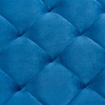 Klupa od plave baršunaste tkanine i nehrđajućeg čelika 97 cm