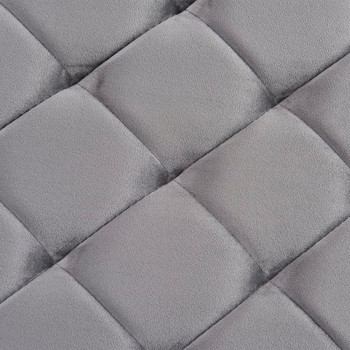 Klupa od sive baršunaste tkanine i nehrđajućeg čelika 97 cm