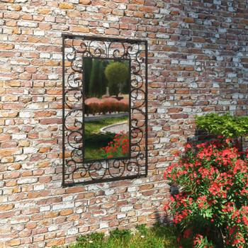 Vrtno zidno ogledalo pravokutno 50 x 80 cm crno