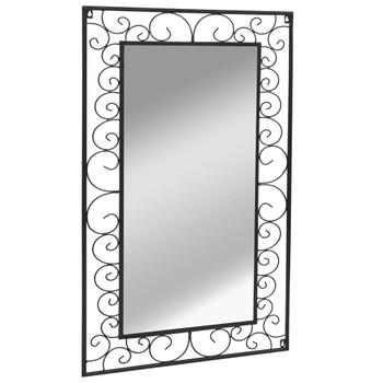 Vrtno zidno ogledalo pravokutno 60 x 110 cm crno
