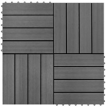 Pločice za trijem 22 kom 30 x 30 cm 2 m² WPC sive