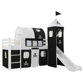 Dječji krevet na kat s toboganom i ljestvama borovina 97x208 cm