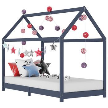 Okvir za dječji krevet od masivne borovine sivi 90 x 200 cm