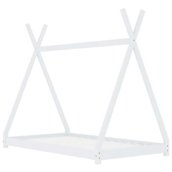 Okvir za dječji krevet od masivne borovine bijeli 90 x 200 cm