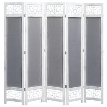 Sobna pregrada s 5 panela od tkanine siva 175 x 165 cm