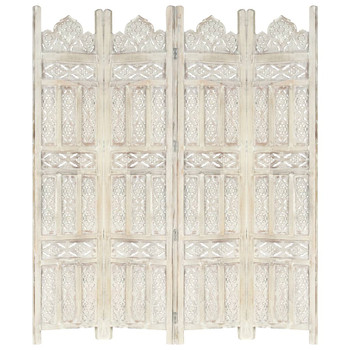 Sobna pregrada s 4 panela bijela 160x165 cm masivno drvo manga