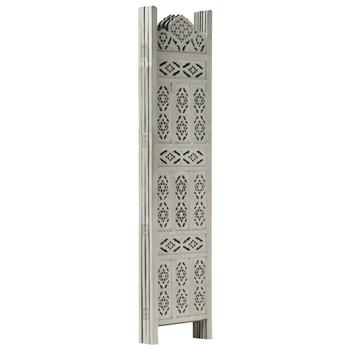 Sobna pregrada s 4 panela siva 160 x 165 cm masivno drvo manga