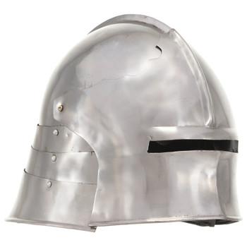 Replika srednjovjekovne viteške kacige za LARP srebrna čelična