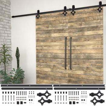 Pribori za klizna vrata 2 kom 200 cm čelični crni