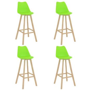 Barski stolci 4 kom zeleni PP i masivna bukovina