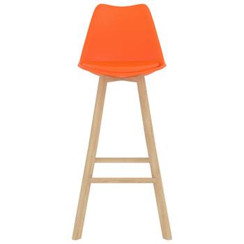 Barski stolci 4 kom narančasti PP i masivna bukovina