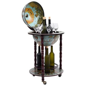Barski stalak za vino u obliku globusa od drva eukaliptusa plavi