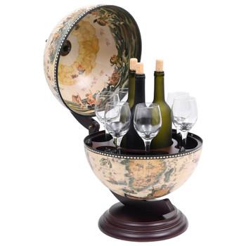 Stolni stalak za vino u obliku globusa drvo eukaliptusa bijeli
