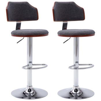 Barski stolci od savijenog drva i tkanine 2 kom tamnosivi