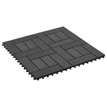Pločice za trijem 11 kom WPC 30 x 30 cm 1 m² crne