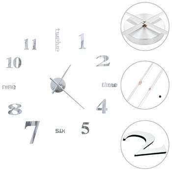 3D zidni sat moderni dizajn 100 cm XXL srebrni