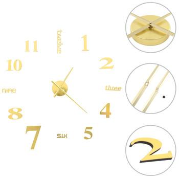 3D zidni sat moderni dizajn 100 cm XXL zlatni