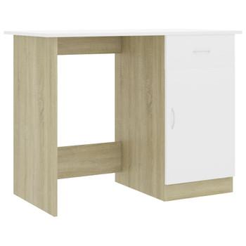 Radni stol bijeli i boja hrasta 100 x 50 x 76 cm od iverice