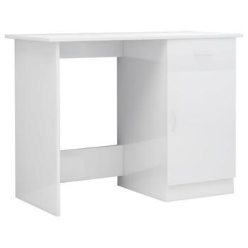 Radni stol visoki sjaj bijeli 100 x 50 x 76 cm od iverice